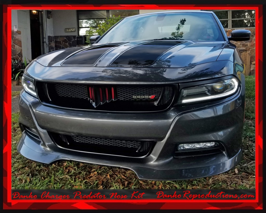 Bumper Grille For 2015-2016 Dodge Charger Set of 2 With hood scoop